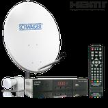 Satellitenanlage (72 cm + Quad LNB + Receiver) für bis zu 4 Teilnehmer