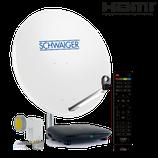 Satellitenanlage (75 cm + OCTO LNB + Receiver) für bis zu 8 Teilnehmer