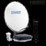 Satellitenanlage (72 cm + Single LNB + Receiver) mit HDTV Empfang für einen Teilnehmer