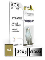 EVO 72110, glossy, DIN A4, 300 gr. | 40 Blatt  |  ultra white