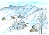 Berglandschaft im Schnee