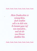 """Einlegeblatt für Danke Karten """" Mein Dankeschön ist winzig klein """""""