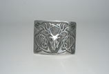 Kilt belt buckle Highland stag chrome