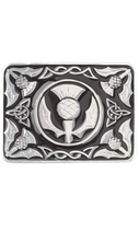 Kilt belt buckle thistle black enamelled
