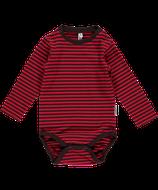Sale! 50 % Maxomorra Langarmbody Stripes darkbrown/red Gr. 62