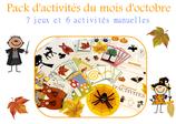 Pack  d'activités du mois d'octobre à télécharger