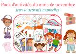 Pack  d'activités du mois de novembre à télécharger
