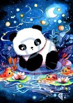 Panda am Koi Teich