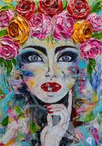 Lady mit Blumenkranz