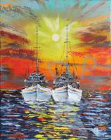 Fischerboote im Sonnenuntergang