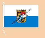 Bayern weiß-bay.blau-Wappen / Hißfahne im Querformat