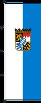 Bayern weiß-bay.blau-Wappen / Hißfahne im Hochformat