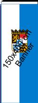 Bayern weiß-bay.blau-Wappen / Bannerfahne