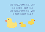 Alle eendjes zwemmen in het water