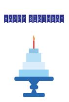 Happy Birthday - Blauwe Taart