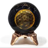 Sphère d'orgonite tourmaline et fleur de vie