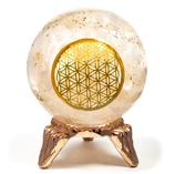 Sphère d'Orgonite sélénite avec fleur de vie