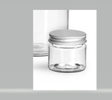 Clear PET Clear Jars with Silver Aluminum Lids: 1/2 oz
