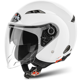 CASCO AIROH JET CITY ONE COLOR DOPPIA VISIERA WHITE GLOSS