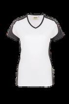 Damen V-Shirt Contrast Performance