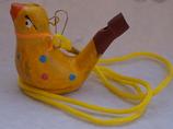 Vogelwasserpfeife gelb mit Umhängeschnur Neu