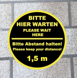 Abstand Halten Fußbodenaufkleber 30x30 cm