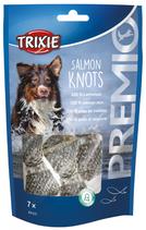 TRIXIE PREMIO Salmon Knots, 7 Stck / 80 g, Lachshaut, reich an Proteinen (1 stck / 0,57€)
