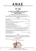 ANAE N° 165 - Le Jeu, ses effet sur le développement psychologique et les apprentissages de l'enfant