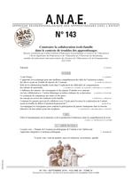 ANAE N° 143 - Construire la collaboration école-famille dans le contexte de troubles des apprentissages