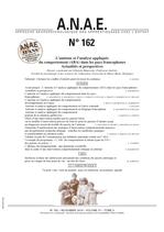 ANAE N° 162 - Autisme et ABA dans les pays francophones - Actualités et perspectives