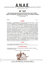 ANAE N°167 - Neuropsychologie des fonctions exécutives chez l'enfant : enjeux scientifiques, stratégies d'examen et contextes clinique