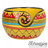 Yarn Bowl aus Mangoholz - Yellow Stripe