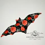 Körnerkissen Batty schwarz Skull/rote Rosen Füllung: Dinkel oder Rapssamen