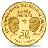 50 euros Europa 1/4 once or Traité de l'Elysée 2013