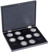 Coffret pour 12 monnaies avec / sans capsules jusqu'à 53 mm Ø