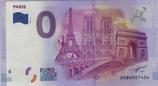 Billet touristique 0€ Paris tour eiffel ND arc triomphe derrière pont 2016