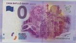 Billet touristique 0€ Euro souvenir Casa Batllo Gaudi Barcelona 2016