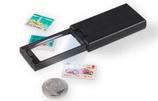Loupe de poche extractible LED avec grossissement x 2,5 et x 45, noir