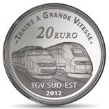 20 euros argent piéfort Lyon Saint Exupéry 2012