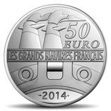 50 euros argent 5 onces Le Normandie 2014