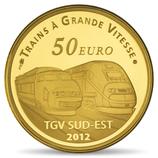 50 euros Gare de Lyon Saint Exupéry 2012 en or 1/4 oz