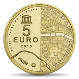 5 euros Rives de Seine Grand Palais Invalides 2015 en or 0,5 gr.