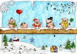 """Postkarte """"Frohes Neues!"""" - Schweinchen"""