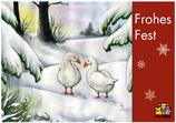 "Postkarte ""Frohes Fest"" - Gänse im Schnee"