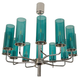Brass and Blue Glass Tube Chandelier T434 12 Sonata by Hans-Agne Jakobsson