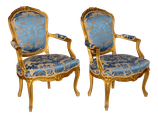 Pair of Gilded Rococo Armchairs