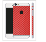 iPhone 6/6s Plus Carbon Folie Weiss / Rot