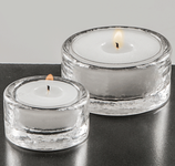 Teelichtglas gross mit Kerze