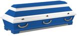 Fußball-Sarg Vereinsfarben blau weiß