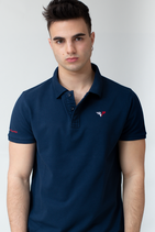 FOOTBALL PLAYER BLUE POLO Biobaumwolle